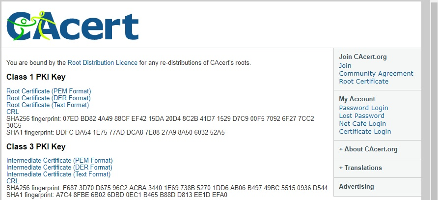 CAcert Root Certificate Page